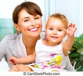 csecsemő, otthon, csókolózás, ölelgetés, anya