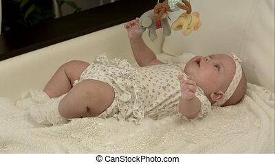csecsemő, otthon, kevés, játék, apró