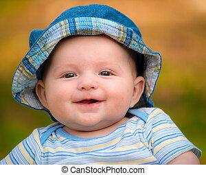 csecsemő, portré, mosolyog vidám