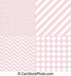 csecsemő, rózsaszínű, leány, seamless, motívum