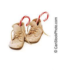 csecsemő, sétabot, cipők, cukorka