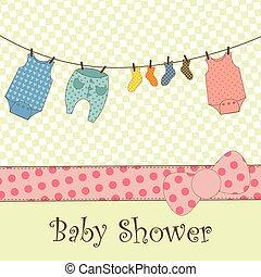 csecsemő shower, érkezés, vagy, kártya