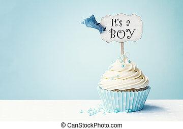 csecsemő shower, cupcake