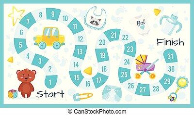 csecsemő shower, játék, gyerekek, bizottság