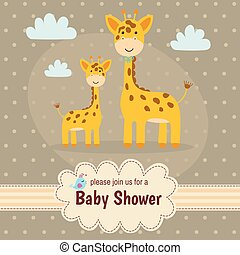 csecsemő shower, meghívás, kártya, noha, csinos, zsiráf
