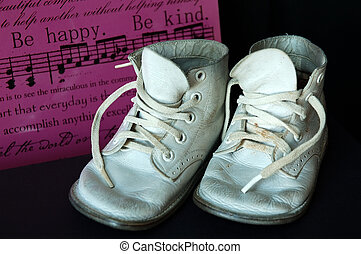 csecsemő, szüret, cipők