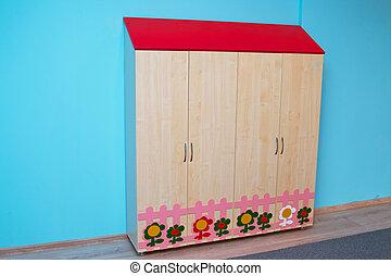 csecsemő, szekrény, alatt, a, kindergarden, ., színes, fából való, berendezés, helyett, kindergarden, vagy, heccel, room.
