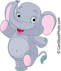 csecsemő, tánc, elefánt