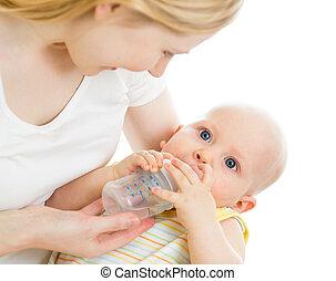 csecsemő, táplálás, övé, palack, anya, csecsemő