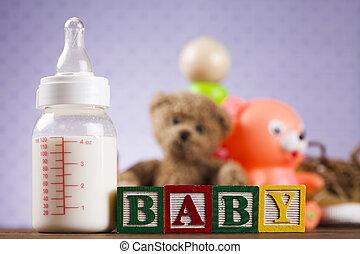 csecsemő, tömb, apró, gyűjtés, képben látható, színes, háttér