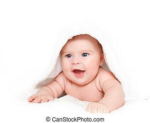 csecsemő, törülköző, nevető