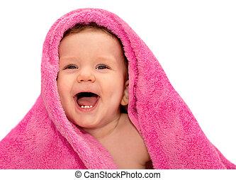 csecsemő, törülköző, piros, boldog