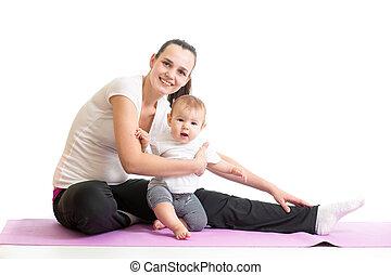 csecsemő, testedzés, anyu