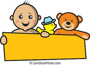 csecsemő, transzparens, birtok, üres
