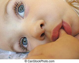 csecsemő, után, alszik
