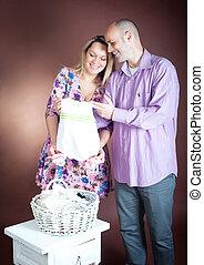 csecsemő, várakozás, newlyweds