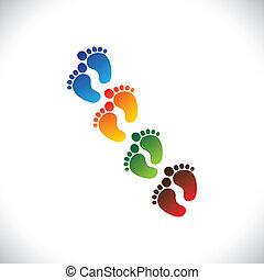csecsemő, vagy, toddler's, színes, lábfej jár, párok,...