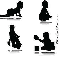 csecsemő, vektor, ábra
