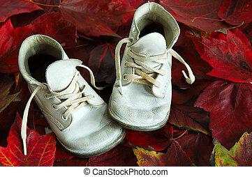 csecsemő, zöld, cipők