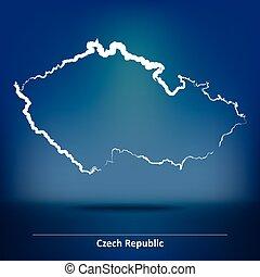 cseh, szórakozottan firkálgat, köztársaság, térkép