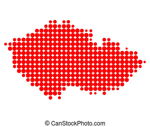 cseh, térkép, köztársaság
