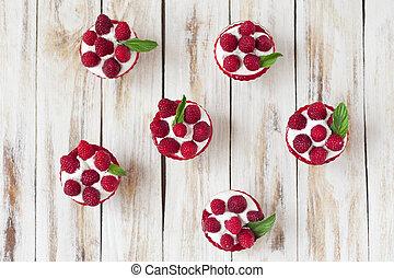 csekélység, kellemes, raspberries., desszert