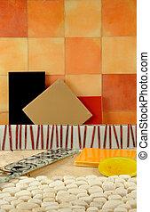 csempeborítás, színes, fürdőszoba, alakzat, colors., decor.