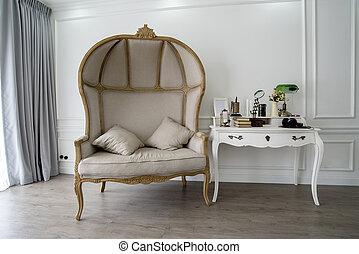csendes, sarok, alatt, szoba, noha, pamlag, és, egy, rendetlen, íróasztal