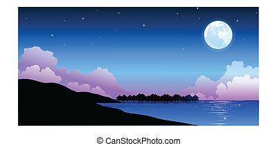 csendes, tele, felett, hold