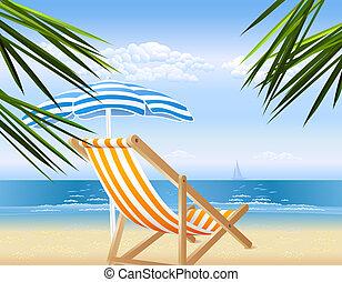 csendes, tengerpart, kilátás