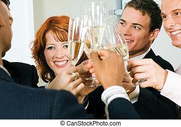 csengő, pezsgő pohár