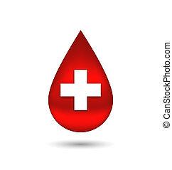 csepp, elszigetelt, kereszt, vér, háttér, white piros