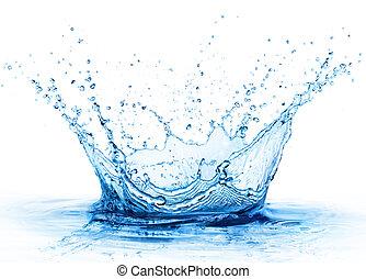 csepp, -, feláll, víz, loccsanás, friss, becsuk