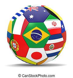 csepp, render, labdarúgás, háttér, árnyék, futball, fehér, 3