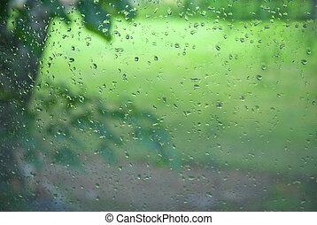 cseppecskék, ablak, nyár