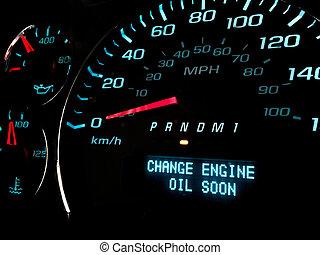 cserél, olaj, hamar, ellenőrző lámpa