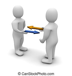 cserél, vagy, kereskedelem, fogalmi, illustration., 3,...
