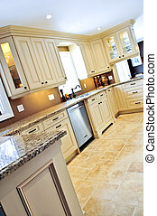 cserép, modern, konyha, emelet