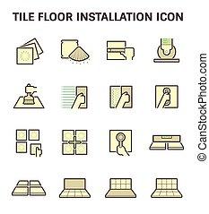 cserép padló, ikon