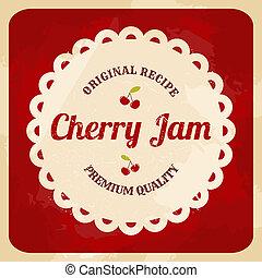 cseresznye, dzsem, retro, címke