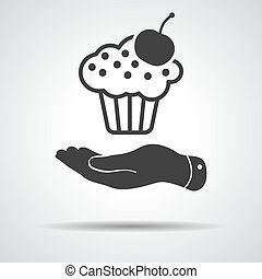 cseresznye, ikon, lakás, torta, kéz, átnyújtás, fekete, backg, szürke