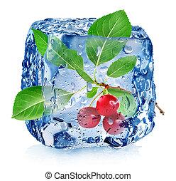 cseresznye, köb, jég