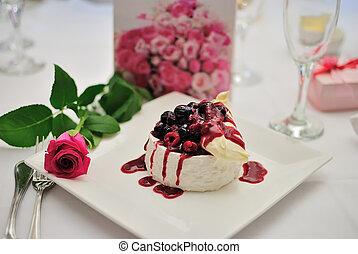 cseresznye, puding, desszert