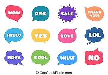 csevegés, vektor, panama, beszéd, comments., különböző, buborék, phrases., beszél, elhomályosul, words.