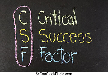 CSF acronym Critical Success Factor, color chalk handwriting...