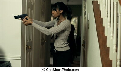 CSI Detectives Walking Through - Two pretty female CSI...