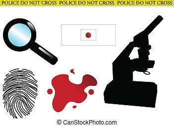 csi equipment - Crime scene elements - vector
