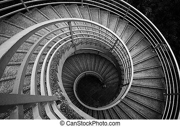 csigavonalú, lépcsősor, fekete-fehér