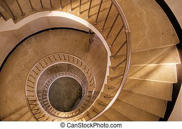 csigavonalú, lépcsősor