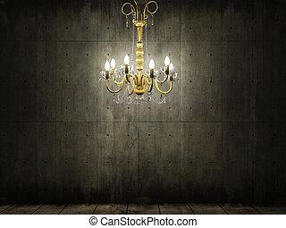 csillár, alatt, sötét, grungy, beton, szoba